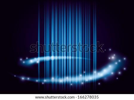 dark modern blue abstract vector background laser light - stock vector