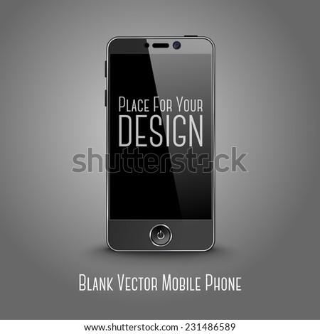 Dark modern smart phone with black screen isolated on grey background with place for your design and branding. Vector - stock vector
