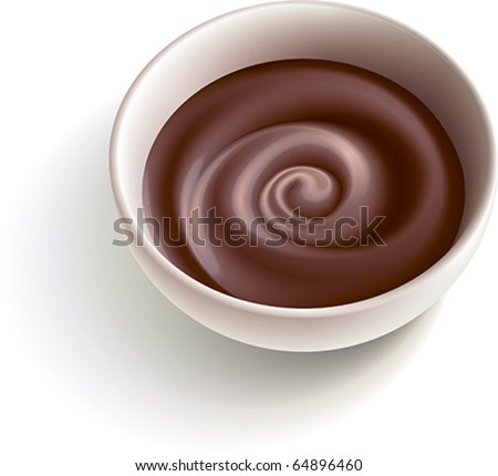 Dark molten chocolate swirling in the white cup. Vector illustration. - stock vector