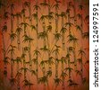 Dark nature background with bamboo silhouettes and grunge texture. EPS 10 blend mode used - stock photo