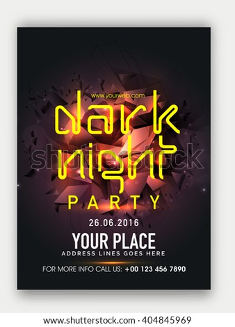 Dark Night Party Template, Dance Party Flyer, Musical Party Banner, Club Party Invitation with glossy abstract design. - stock vector