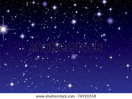 Dark night sky with sparkling stars and planets - stock vector