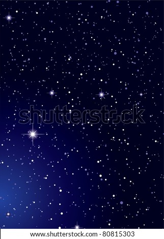 Dark nights sky with stella galaxy and twinkle stars - stock vector