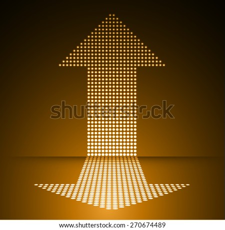Dark orange arrow Abstract light lamps background for Technology computer graphic website internet and business.. Screen on stage. Vector illustration. Spot Effect. neon. point. dot - stock vector