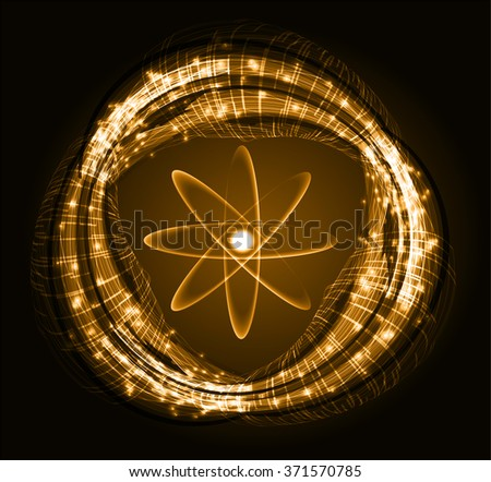 dark orange Light Abstract Technology background for computer graphic website internet and business.circuit. vector illustration. Security. Nuclear, proton, neutron, nucleus. atom. molecular.Spark - stock vector