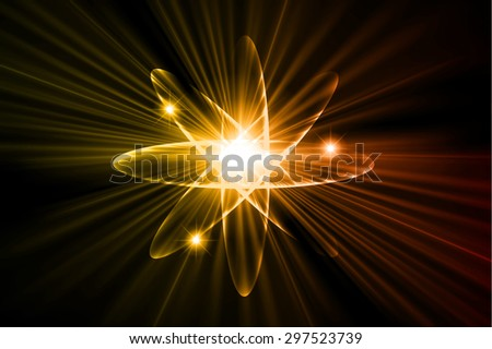 Dark orange yellow color Light Abstract Technology background for computer graphic website internet.circuit. vector illustration.Nuclear,proton,neutron,nucleus. atom. molecular.Spark ray beam aura - stock vector