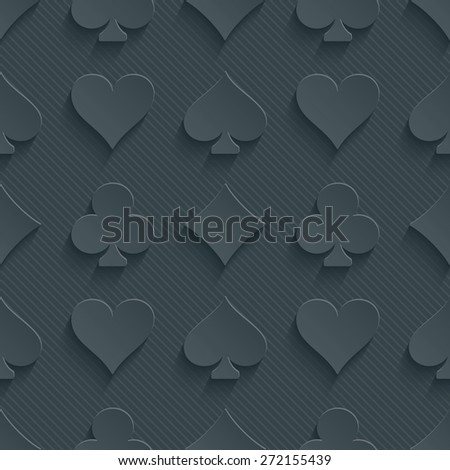 Dark perforated paper with cut out effect. 3d card symbol seamless background. Vector EPS10. - stock vector