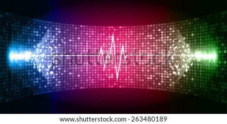 Dark Pink blue green Sound wave background suitable as a backdrop for music, technology and sound projects. Blue Heart pulse monitor with signal. Heart beat.