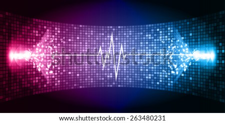 Dark Pink blue Sound wave background suitable as a backdrop for music, technology and sound projects. Blue Heart pulse monitor with signal. Heart beat. - stock vector
