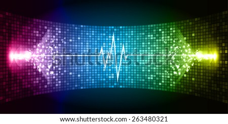 Dark Pink blue yellow Sound wave background suitable as a backdrop for music, technology and sound projects. Blue Heart pulse monitor with signal. Heart beat.