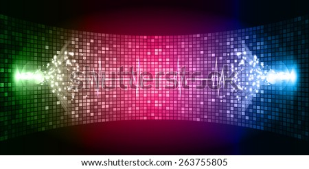 Dark Pink green blue Sound wave background suitable as a backdrop for music, technology and sound projects. Heart pulse monitor with signal. Heart beat.