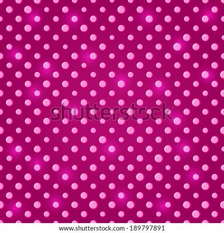 Dark Pink Shiny Polka dot Seamless Pattern Background - stock vector
