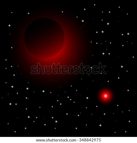 Dark planet; sun; Pluto; Jupiter; Charon; Moon; Dwarf planet; New Horizons - stock vector