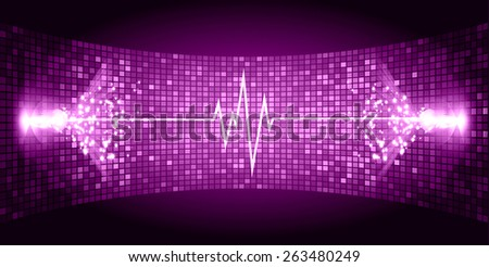 Dark purple purple Sound wave background suitable as a backdrop for music, technology and sound projects. Blue Heart pulse monitor with signal. Heart beat. - stock vector