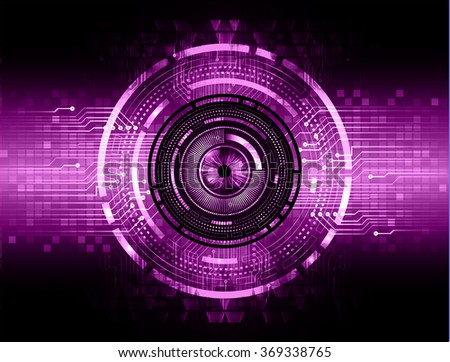 dark purple silver Light Abstract Technology background for computer graphic website internet and business. circuit. illustration.digital.infographics. binary code. zero one. eye. scan virus vector - stock vector