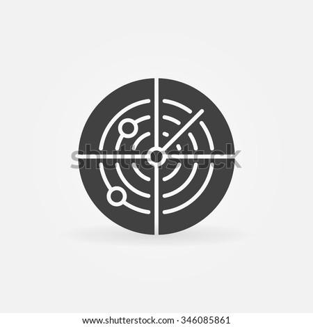Dark radar icon or logo - vector sonar concept symbol - stock vector