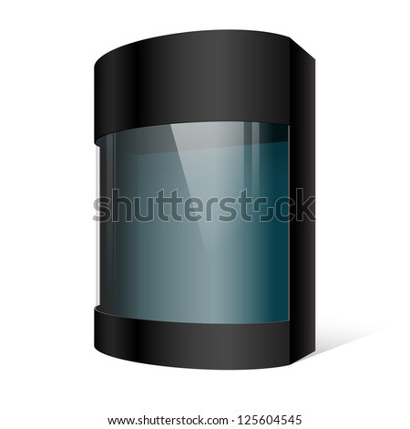 Dark Realistic Package Cardboard Box with a transparent plastic window. On separate layers box with cutout, transparent window, and shadow. Vector illustration - stock vector