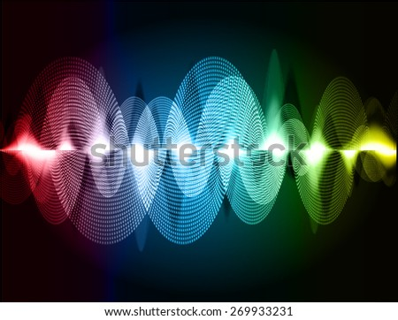 dark red blue yellow abstract digital sound wave background. Light Technology background for computer graphic website internet. - stock vector