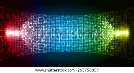 Dark red green blue Sound wave background suitable as a backdrop for music, technology and sound projects. Blue Heart pulse monitor with signal. Heart beat. - stock vector
