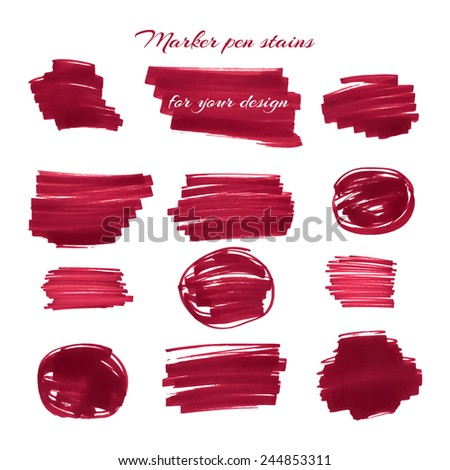Dark red marker pen spots and lines isolated on a white background for your design. Vector illustration. - stock vector
