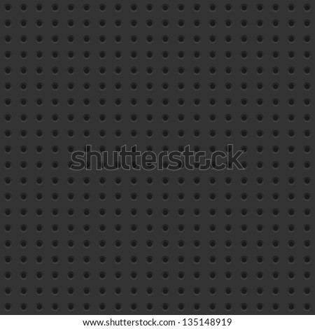 Dark seamless background tile with perforations. - stock vector