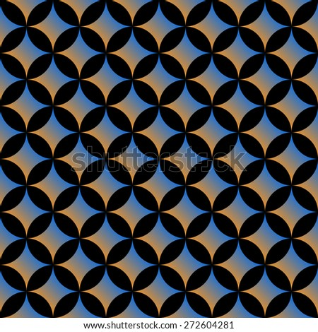Dark seamless geometric pattern with circles. Vector background - stock vector