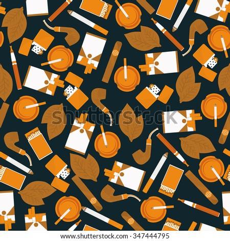 dark seamless pattern of smoking accessories - stock vector