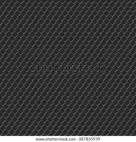Dark seamless texture. Structure of black mesh metal fence realistic. Vector background. - stock vector