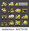 Dark series | car,vehicle,Construction machine icon set - stock vector