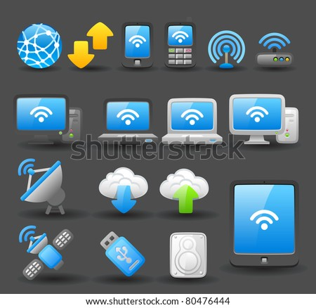 Dark series | cloud computing device - stock vector