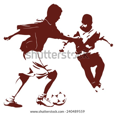 Dark silhouette of young football players, soccer illustration isolated on white