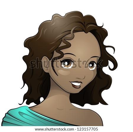 dark-skinned girl - stock vector