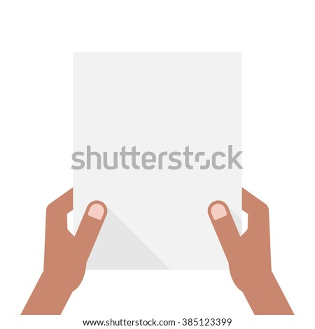 dark-skinned hands holding sheet of paper. concept of notice, invitation, headline, a4, check list, note, showing, ui, test. flat style trend modern design vector illustration on white background - stock vector