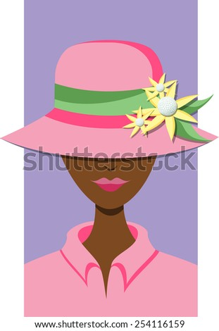 Dark skinned woman with a hat that has a flower golfball decoration on the brim.  - stock vector