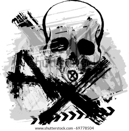 Dark skull grunge background. - stock vector