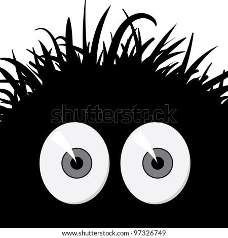 Dark, strange, comic frightened creature - vector illustration - stock vector