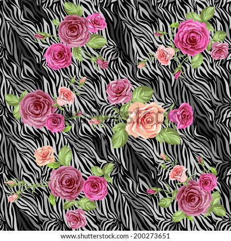 Dark stylish animal pattern with roses. Vector seamless background - stock vector