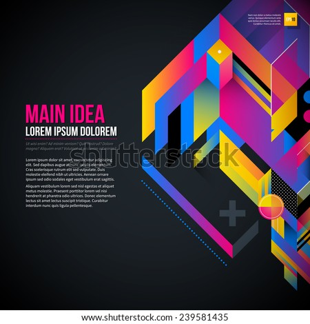 Dark text background with abstract geometric element and glowing lights. Corporate futuristic design, useful for presentations, advertising and web layouts. EPS10 vector template. - stock vector