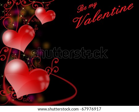 Dark valentines background or greeting card with glossy red hearts, vector background - stock vector