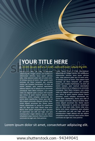 Dark Vector Brochure and Poster Background with gold elements - stock vector