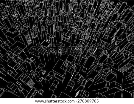 dark vector city - stock vector