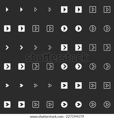 Dark vector clean modern flat arrow symbol icon set