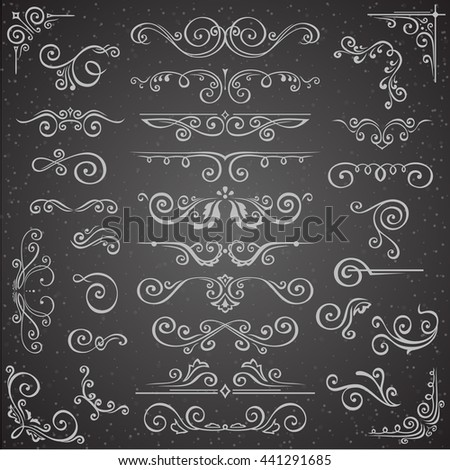 Dark Vector set of Swirl Elements for Frame Design. Vector Calligraphic Design Elements for page decoration, Labels, banners, antique and baroque Frames and floral ornaments. Wedding Decoration - stock vector
