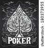 Dark Vintage Poker badge - western style - vector poster - Grunge effects can be easily removed - stock