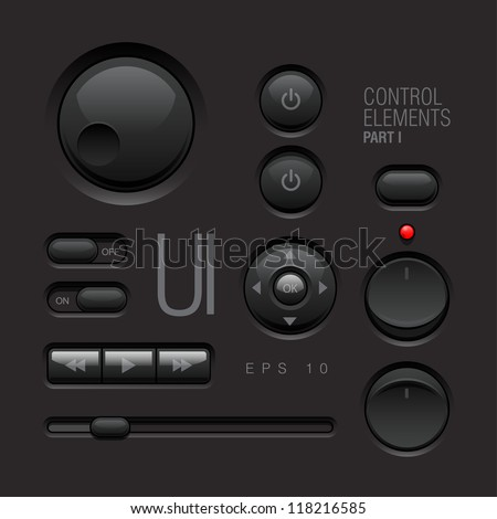 Dark Web UI Elements Design Gray. Buttons, Switches, bars, power buttons, sliders. Part one - stock vector