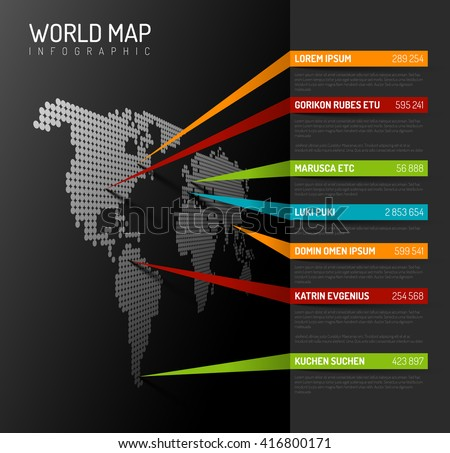 Dark World map infographic template with pointer marks (vertical on the wall version).  - stock vector