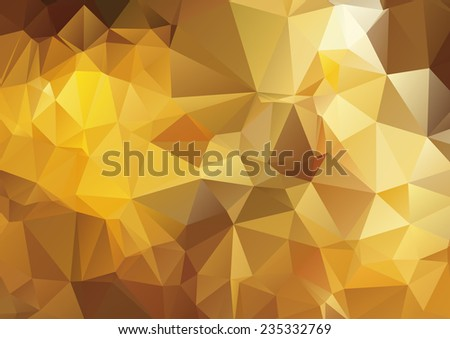 Dark yellow abstract polygonal background - stock vector