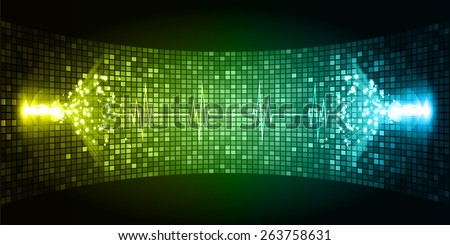 Dark yellow blue Sound wave background suitable as a backdrop for music, technology and sound projects. Blue Heart pulse monitor with signal. Heart beat. - stock vector