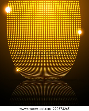 Dark yellow orange Abstract light lamps background for Technology computer graphic website internet and business.. Screen on stage. Vector illustration. Spot Effect. neon. point. dot - stock vector