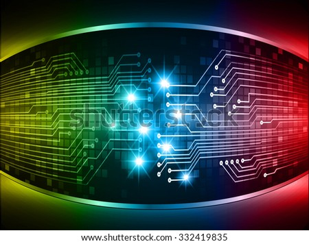dark yellow red blue Light Abstract Technology background for computer graphic website internet business. circuit. illustration. digital. infographics. binary code. www. vector.one. zero.eye. aura ray - stock vector